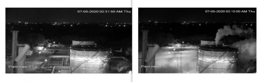 지난 5월7일 새벽 2시31분50초에 촬영된 인도 엘지(LG)폴리머스 공장의 화학물질 탱크 시시티브이 영상(왼쪽)에서는 특이한 점이 발견되지 않았으나, 같은 날 새벽 3시15분 촬영된 영상에서는 한국 영화 <엑시트>에서처럼 연기(스티렌 가스)가 새어 나와 자욱하게 깔리고 있다. 인도 조사위원회 보고서 갈무리